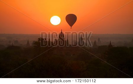 The Ancient Temples of Bagan(Pagan) with rising balloon background, Mandalay, Myanmar
