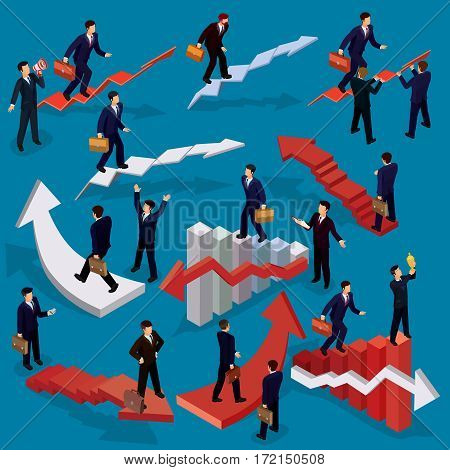 Vector illustration of 3D flat isometric people. Businessman goes up the stairs. Concept of business growth, career ladder, the path to success.