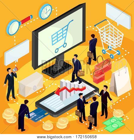 Vector 3D isometric illustration concept of e-commerce, online store. High quality online shopping services since the choice of product and its payment, completing its delivery