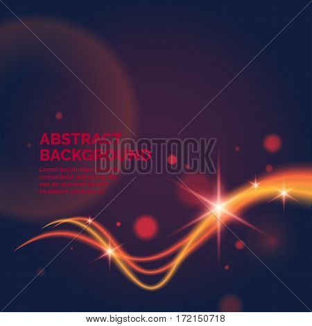 Blurred abstract poster. Fiery lines against a dark background