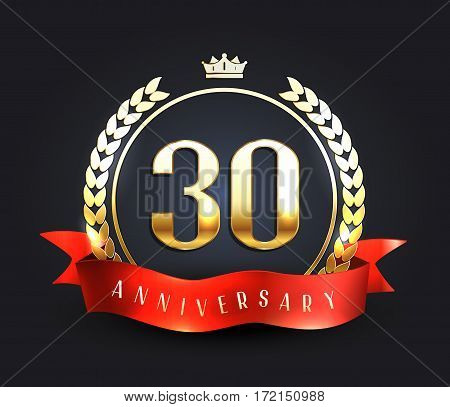 Thirty years anniversary banner. 30th anniversary logo. Vector illustration.