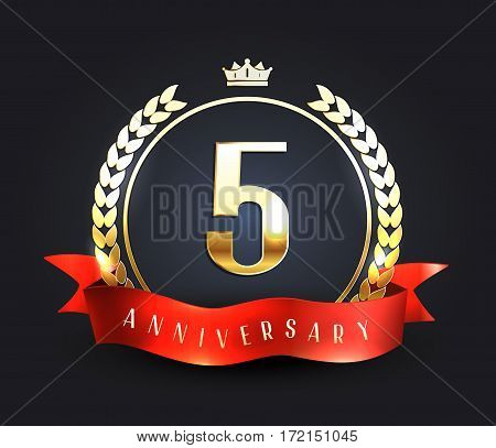 Five years anniversary banner. 5th anniversary logo. Vector illustration.