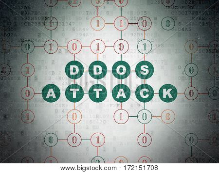 Safety concept: Painted green text DDOS Attack on Digital Data Paper background with Binary Code