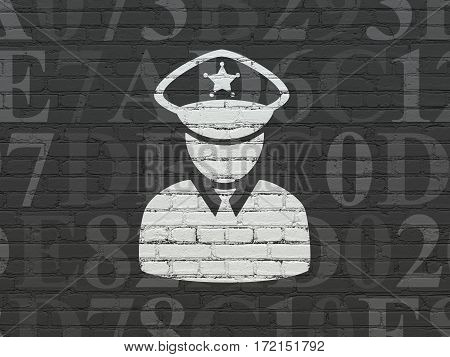 Privacy concept: Painted white Police icon on Black Brick wall background with  Hexadecimal Code