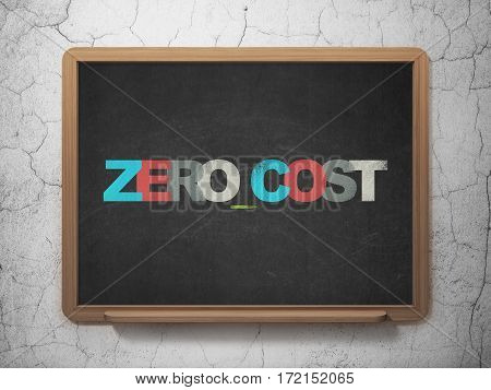 Business concept: Painted multicolor text Zero cost on School board background, 3D Rendering