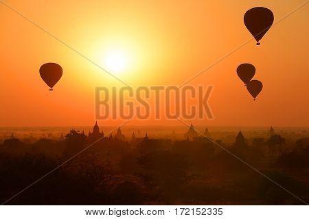 The Ancient Temples of Bagan(Pagan) with rising balloon above, Mandalay, Myanmar