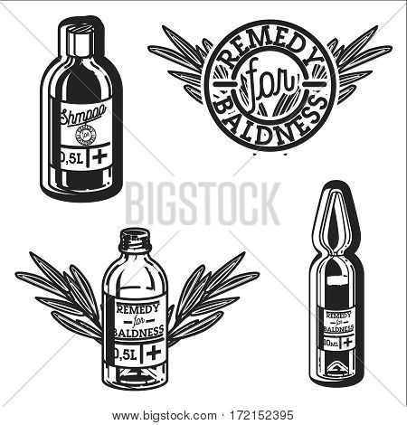 vintage remedy for baldness emblems vector illustration isolated on white background. Logos for medical hear transplantation centers