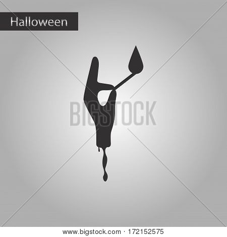 black and white style icon of halloween zombie arm