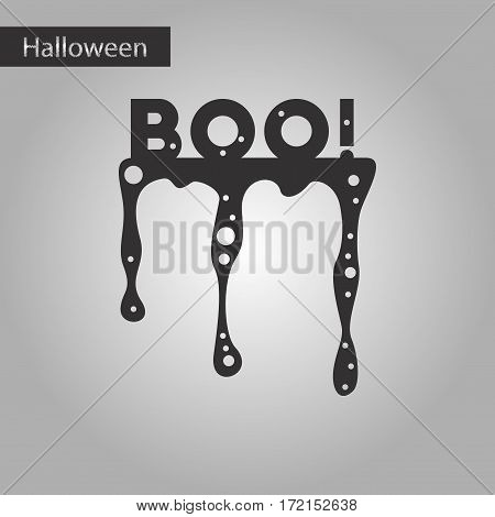black and white style icon of halloween boo
