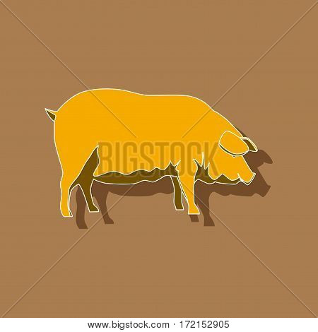 paper sticker on stylish background pig animal