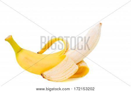 Partly peeled Banana isolated on white background