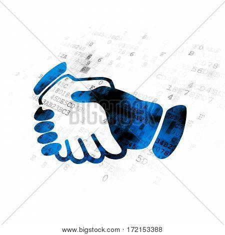Business concept: Pixelated blue Handshake icon on Digital background