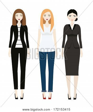 Beautiful Woman dresscode. Smiling Female in casual and business clothes. Elegant outfit. Vector illustration