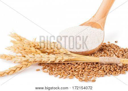 Spoon flour and wheat grain