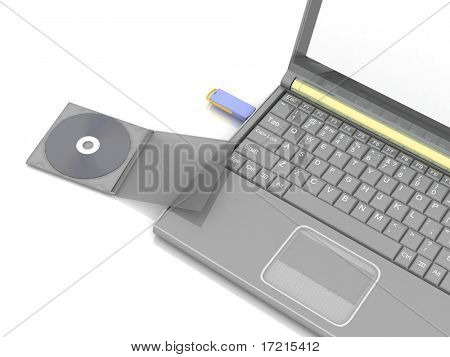 Stock Photo:  CD lies next to a notebook in which the inserted flash drive. isolated on white