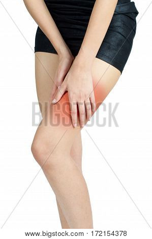 woman holding with massaging thigh in pain area Isolated on white background.