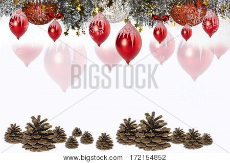 Christmas card of border with sequins,bells,pine cones and wicker balls from yarn