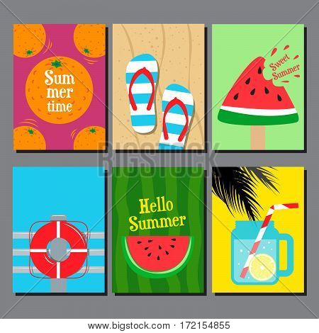 Vector collection of summer seasand water poster card banner flat design template background.