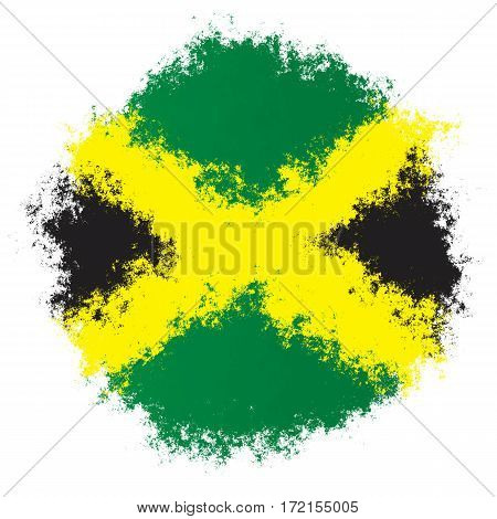 Color spray stylized flag of Jamaica on white background