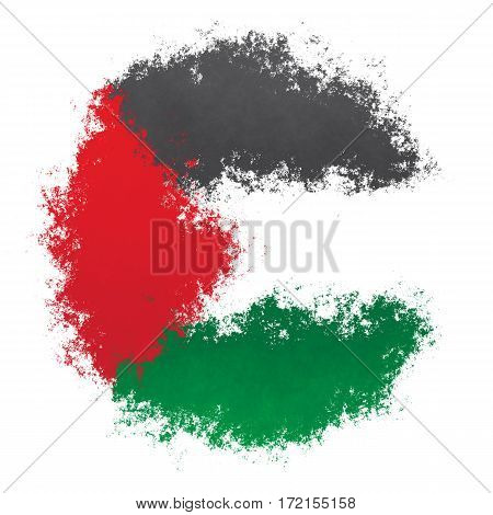 Color spray stylized flag of Palestine on white background