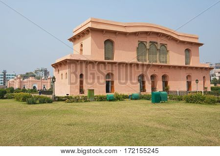 DHAKA, BANGLADESH - FEBRUARY 22, 2014: Exterior of the Historical Museum Building of The mausoleum of Bibipari in Lalbagh Fort, Dhaka, Bangladesh
