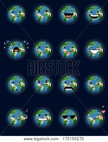 Vector illustration of a sixteen planet faces