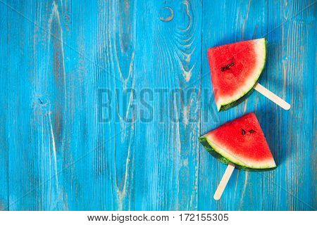 Fresh Watermelon Popsicle Yummy Fresh Summer Fruit Sweet Dessert On Vintage Old Wood Blue Background