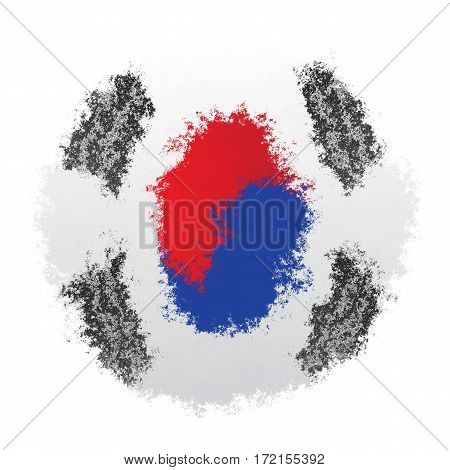 Color spray stylized flag of South Korea on white background