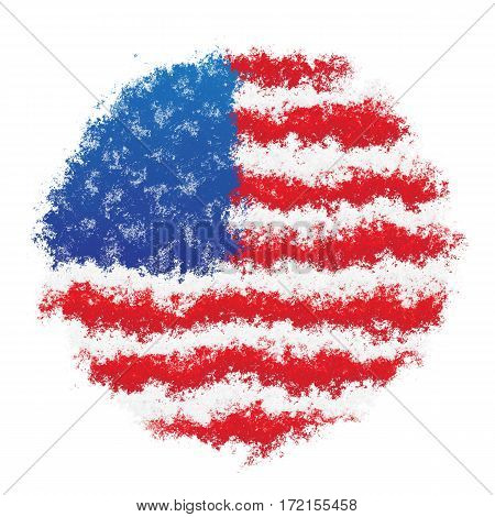 Color spray stylized flag of USA on white background