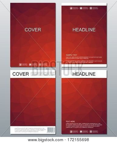 Vector brochure template, flyer, cover magazine in A4 size. Business abstract background with triangles