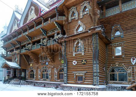 carved wooden palace Izmailovo Kremlin in Moscow.