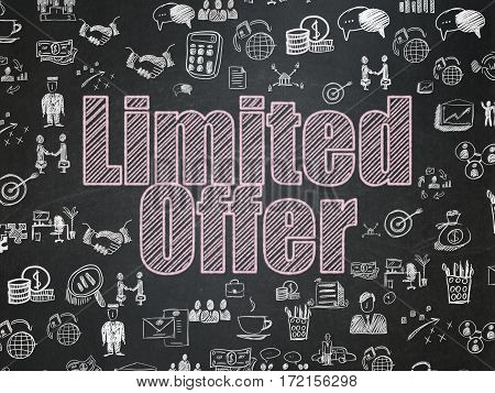 Finance concept: Chalk Pink text Limited Offer on School board background with  Hand Drawn Business Icons, School Board