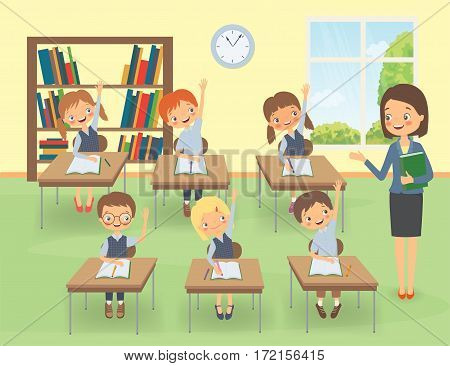 Teacher with pupils in a classroom at a lesson. Cartoon vector illustration