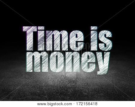 Business concept: Glowing text Time is Money in grunge dark room with Dirty Floor, black background