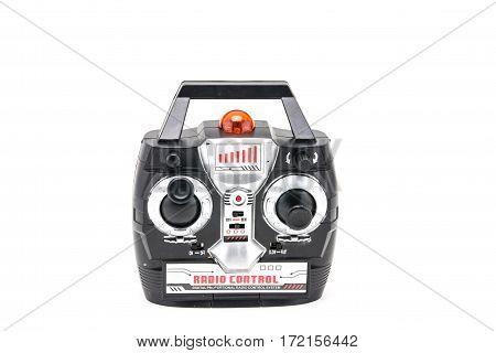 Close up radio remote control on white background