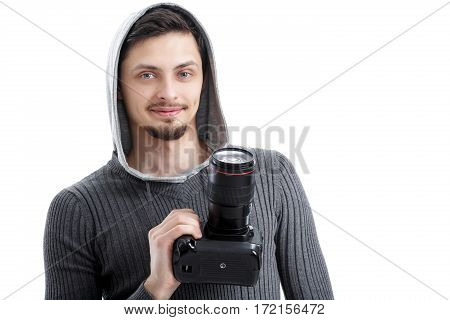 young successful professional photographer in shirt use DSLR digital camera isolated on white background