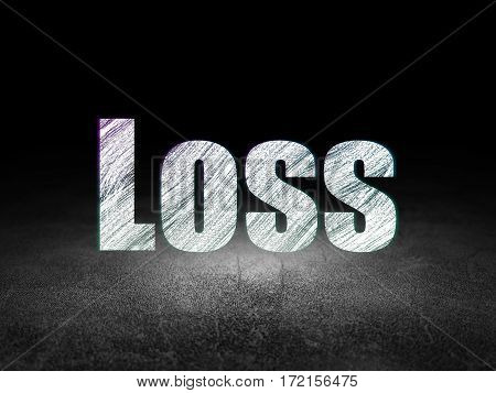 Business concept: Glowing text Loss in grunge dark room with Dirty Floor, black background