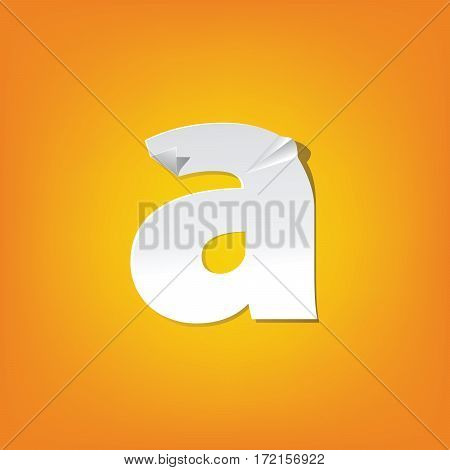 The new design of the English alphabet a Lowercase letter was folded paper some of the letters. Adapted from the font Myriad Pro extra bold.