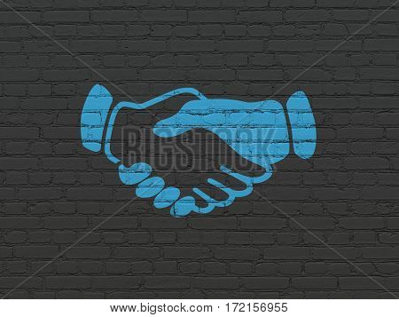 Business concept: Painted blue Handshake icon on Black Brick wall background