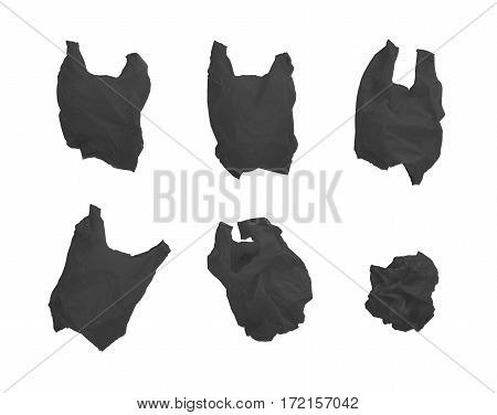 Collection of black color plastic bag in different composition isolated on white background.
