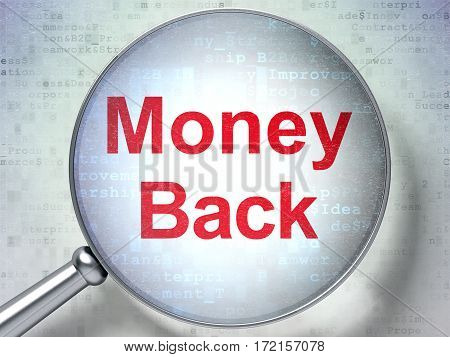 Finance concept: magnifying optical glass with words Money Back on digital background, 3D rendering