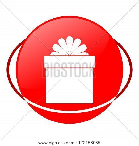 Red icon, gift box vector illustration on white background
