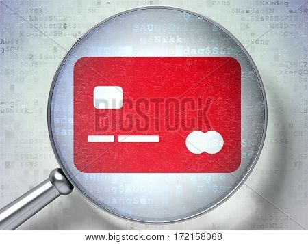 Business concept: magnifying optical glass with Credit Card icon on digital background, 3D rendering