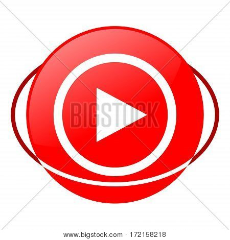 Red icon, play vector illustration on white background