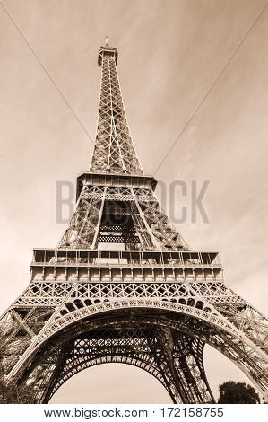 The Eiffel Tower is a wrought iron lattice tower on the Champ de Mars in Paris France