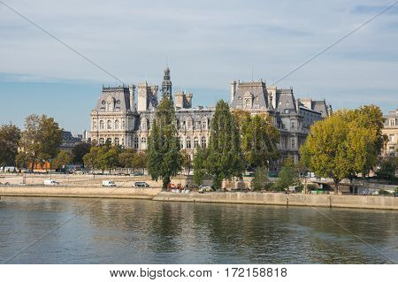 The Hotel de Ville in Paris France is the building housing the city's local administration