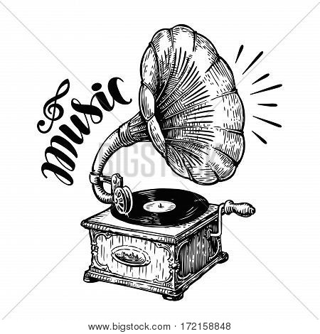 Hand drawn gramophone, sketch. Music, nostalgia symbol. Vintage vector illustration isolated on white background