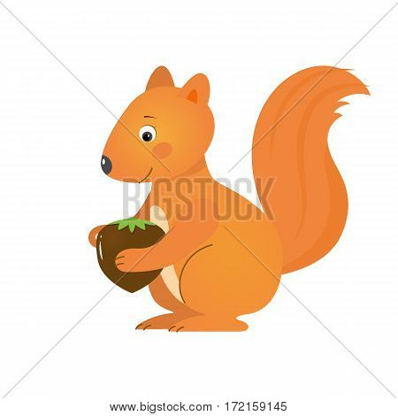Funny squirrel with hazelnut, illustration for children. Design element for baby shower card, scrapbooking, invitation, childish accessories. Isolated on white background. Vector illustration.