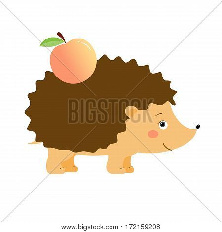 Funny hedgehog with apple, illustration for children. Design element for baby shower card, scrapbooking, invitation, childish accessories. Isolated on white background. Vector illustration.