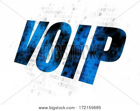 Web development concept: Pixelated blue text VOIP on Digital background